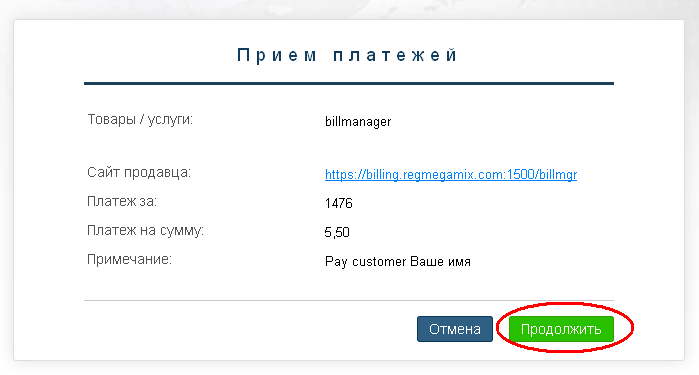 Оплата доменного имени