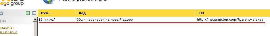 Настройка 301 редиректа